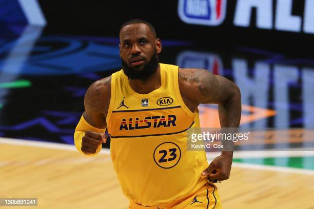 Lebron James of Team LeBron reacts against Team Durant in the 70th NBA All-Star Game at State Farm Arena on March 07, 2021 in Atlanta, Georgia.