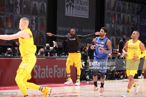 LeBron James of Team LeBron reacts to a play during the 70th NBA All Star Game as part of 2021 NBA All Star Weekend on March 7, 2021 at State Farm...