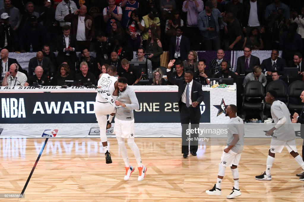 LeBron James #23 of team LeBron reacts with Anthony Davis #23 after winning at the NBA All-Star Game as a part of 2018 NBA All-Star Weekend at STAPLES Center on February 18, 2018 in Los Angeles, California.