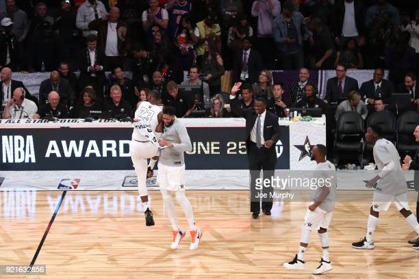 LeBron James of team LeBron reacts with Anthony Davis after winning at the NBA AllStar Game as a part of 2018 NBA AllStar Weekend at STAPLES Center...