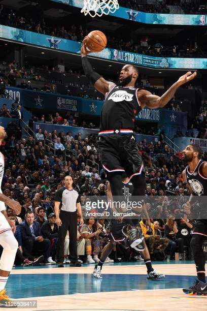 LeBron James of Team LeBron rebounds the ball against Team Giannis during the 2019 NBA AllStar Game on February 17 2019 at the Spectrum Center in...