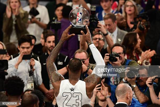LeBron James of Team LeBron receives the MVP trophy after the NBA AllStar Game as a part of 2018 NBA AllStar Weekend at STAPLES Center on February 18...