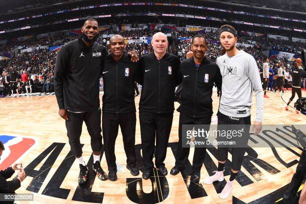 LeBron James Of Team LeBron Referees James Capers Gary Zielinski Tony Brown and Stephen Curry Of Team Stephen pose for a photo prior to the NBA...