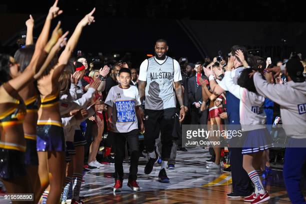 LeBron James of Team LeBron runs out before the NBA AllStar Media Day Practice as part of 2018 NBA AllStar Weekend at the Los Angeles Convention...