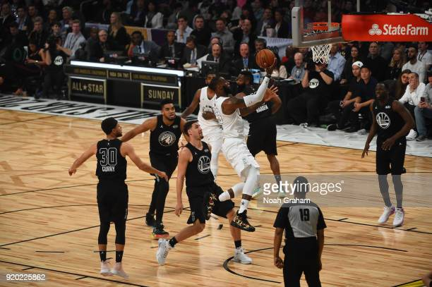 LeBron James of team LeBron shoots during the NBA AllStar Game as a part of 2018 NBA AllStar Weekend at STAPLES Center on February 18 2018 in Los...