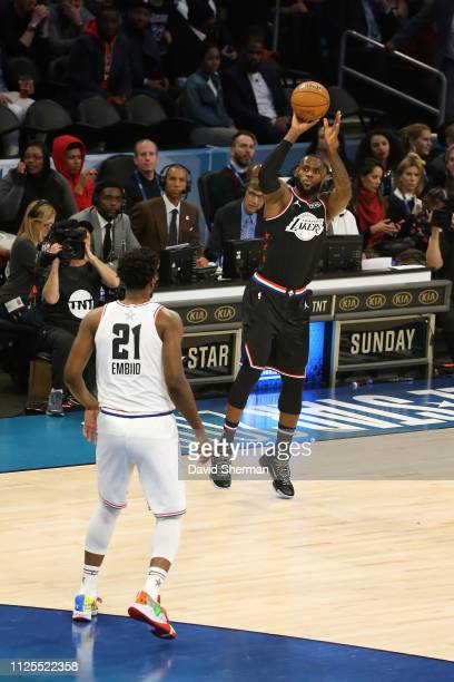 LeBron James of Team LeBron shoots the ball against Team Giannis during the 2019 NBA AllStar Game on February 17 2019 at the Spectrum Center in...