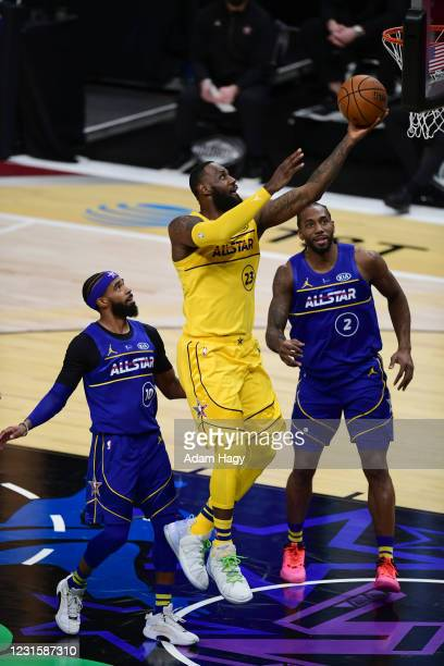 LeBron James of Team LeBron shoots the ball during the 70th NBA All Star Game as part of 2021 NBA All Star Weekend on March 7, 2021 at State Farm...