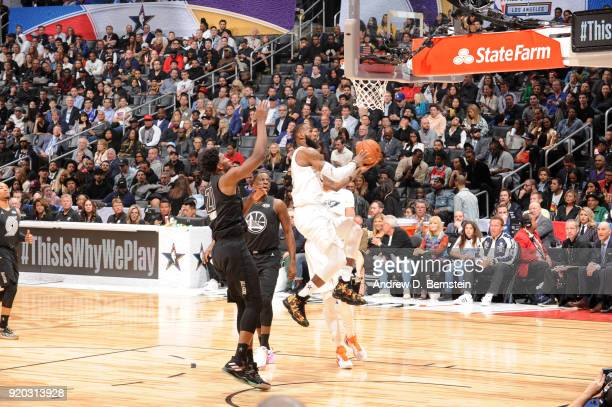 LeBron James Of Team LeBron shoots the ball during the NBA AllStar Game as a part of 2018 NBA AllStar Weekend at STAPLES Center on February 18 2018...