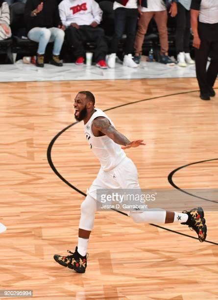 LeBron James of Team LeBron smiles after winning against Team Curry during the NBA AllStar Game as a part of 2018 NBA AllStar Weekend at STAPLES...