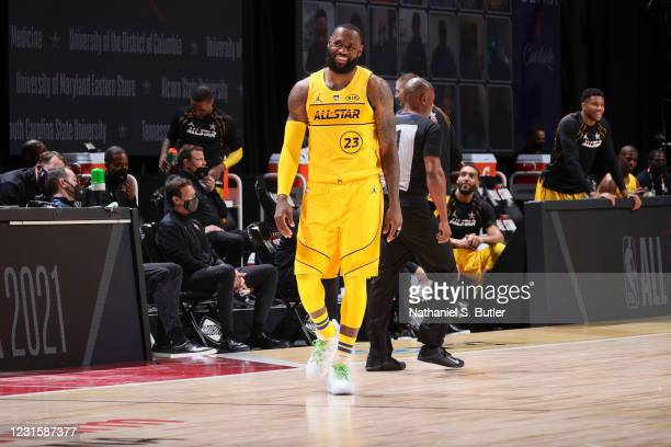 LeBron James of Team LeBron smiles during the 70th NBA All Star Game as part of 2021 NBA All Star Weekend on March 7, 2021 at State Farm Arena in...