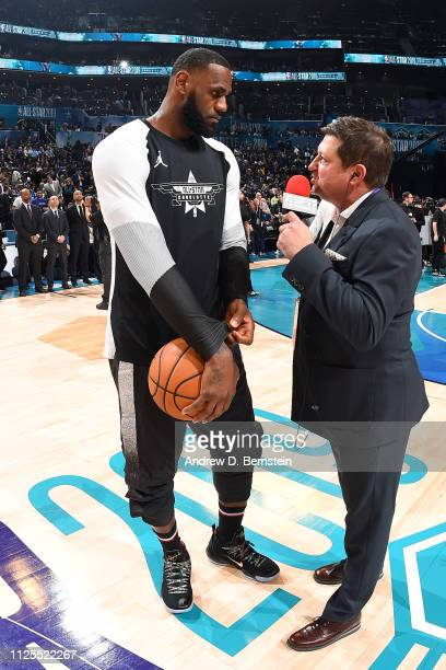 LeBron James of Team LeBron speaks to Marc Stein before the 2019 NBA AllStar Game on February 17 2019 at the Spectrum Center in Charlotte North...