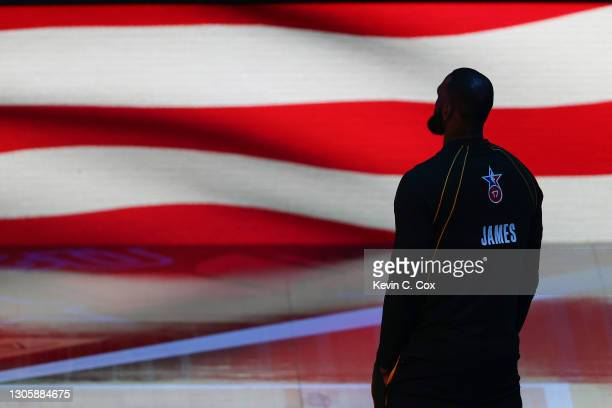 Lebron James of Team LeBron stands for the national anthem prior to the 70th NBA All-Star Game at State Farm Arena on March 07, 2021 in Atlanta,...