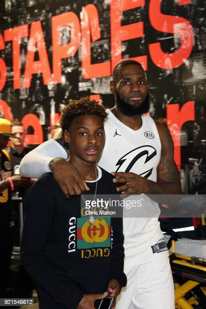 LeBron James of team LeBron walks with his son during the NBA AllStar Game as a part of 2018 NBA AllStar Weekend at STAPLES Center on February 18...