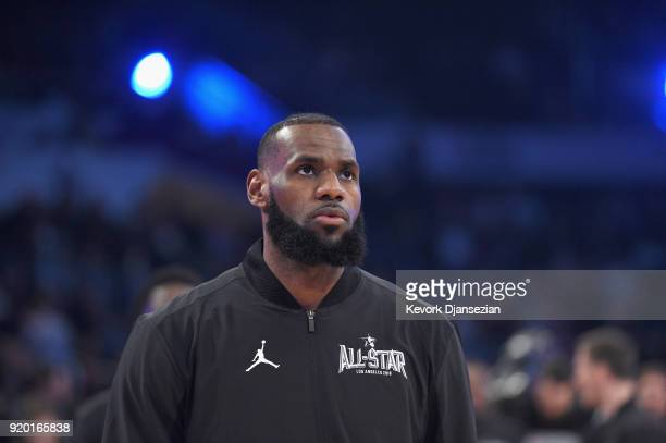 LeBron James of Team Lebron warms up prior to the NBA AllStar Game 2018 at Staples Center on February 18 2018 in Los Angeles California