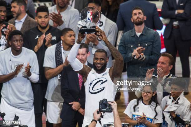 LeBron James of Team Lebron wins the MVP trophy after Team Lebron defeats Team Stephen during the 2018 NBA AllStar Game at the Staples Center in Los...