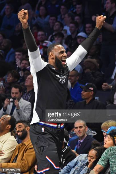 LeBron James of Team LeBron yells and celebrates during the 2019 NBA AllStar Game on February 17 2019 at Spectrum Center in Charlotte North Carolina...