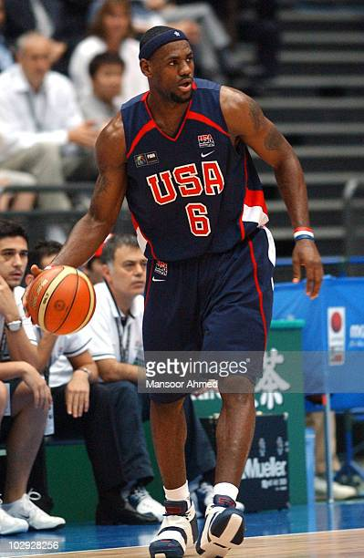 Lebron James of Team USA controls the basketball during the FIBA World Championship 2006 Semi Final at the Saitama Super Arena Tokyo Japan Friday 1st...