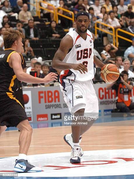 Lebron James of Team USA plans his route to the bucket during the FIBA World Championship 2006 quarter final at the Saitama Super Arena Tokyo Japan...