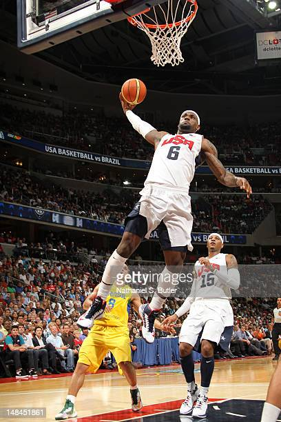 LeBron James of the 2012 US Men's Senior National Team dunks while playing against the Brazilian Men's Senior National Team at the Verizon Center on...