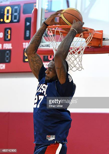 LeBron James of the 2015 USA Basketball Men's National Team goes up for a reverse dunk during a practice session at the Mendenhall Center on August...