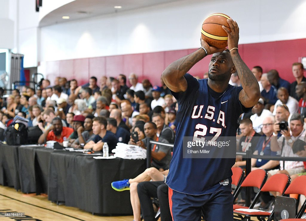 LeBron James #27 of the 2015 USA Basketball Men's National Team shoots during a practice session at the Mendenhall Center on August 12, 2015 in Las Vegas, Nevada.