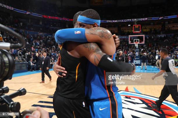 LeBron James of the Cleveland Cavaliers and Carmelo Anthony of the Oklahoma City Thunder hug after the game on February 13 2018 at Chesapeake Energy...