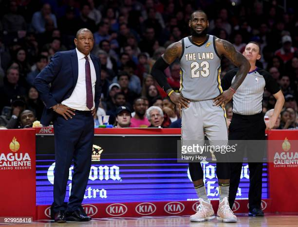 LeBron James of the Cleveland Cavaliers and Doc Rivers of the LA Clippers react to a free throw during a 116102 Clipper win at Staples Center on...