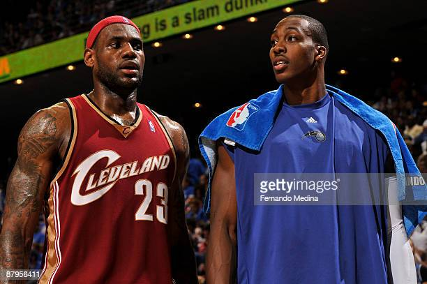 LeBron James of the Cleveland Cavaliers and Dwight Howard of the Orlando Magic during Game Three of the Eastern Conference Finals during the 2009 NBA...