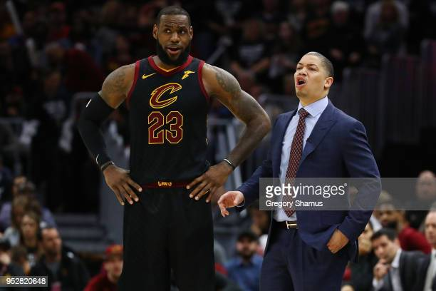 LeBron James of the Cleveland Cavaliers and head coach Tyronn Lue talk while playing the Indiana Pacers in Game Seven of the Eastern Conference...