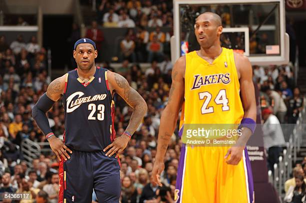 LeBron James of the Cleveland Cavaliers and Kobe Bryant of the Los Angeles Lakers look on during their game at Staples Center on January 19 2009 in...