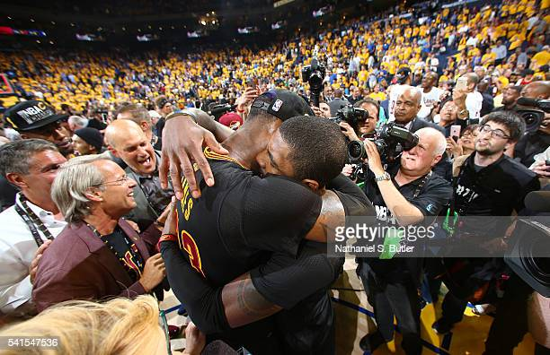 LeBron James of the Cleveland Cavaliers and Kyrie Irving celebrate winning Game Seven of the 2016 NBA Finals against the Golden State Warriors on...