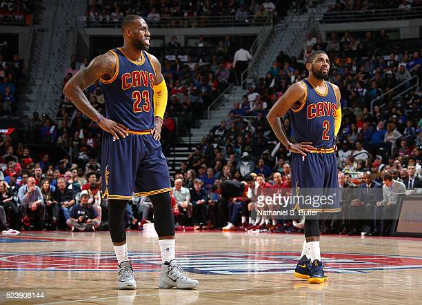 LeBron James of the Cleveland Cavaliers and Kyrie Irving of the Cleveland Cavaliers looks on against the Detroit Pistons in Game Four of the Eastern...