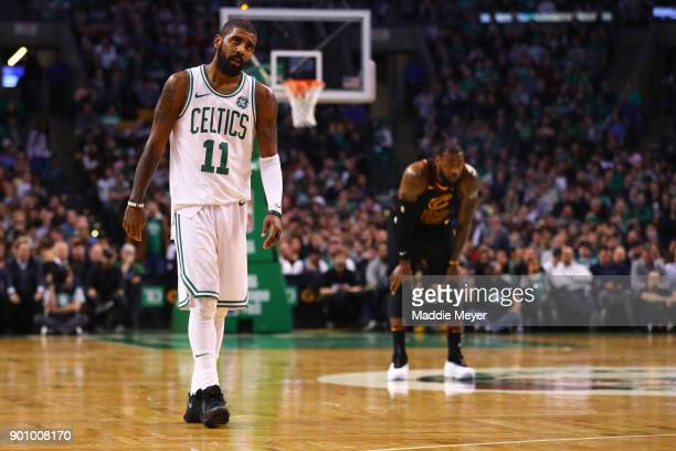 LeBron James of the Cleveland Cavaliers and Kyrie Irving of the Boston Celtics look on during the second half at TD Garden on January 3 2018 in...