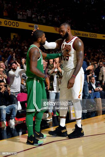 LeBron James of the Cleveland Cavaliers and Kyrie Irving of the Boston Celtics talk after the game on October 17 2017 at Quicken Loans Arena in...