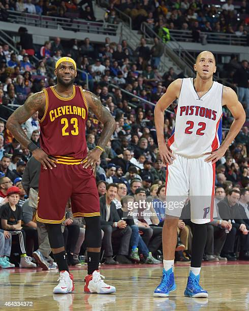 LeBron James of the Cleveland Cavaliers and Tayshaun Prince of the Detroit Pistons during the game on February 24 2015 at The Palace of Auburn in...