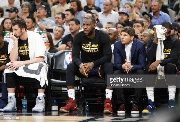 LeBron James of the Cleveland Cavaliers and teammatesKevin Love of the Cleveland Cavaliers Kyle Korver of the Cleveland Cavaliers and Tristan...