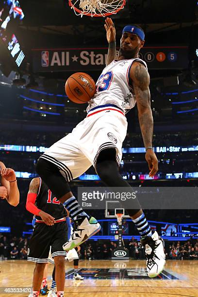 LeBron James of the Cleveland Cavaliers and the Eastern Conference dunks the ball in the first half during the 2015 NBA AllStar Game at Madison...
