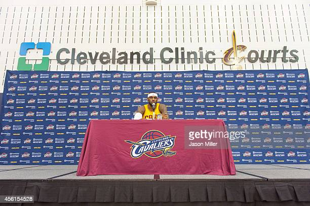 LeBron James of the Cleveland Cavaliers answers questions during media day at Cleveland Clinic Courts on September 26 2014 in Independence Ohio