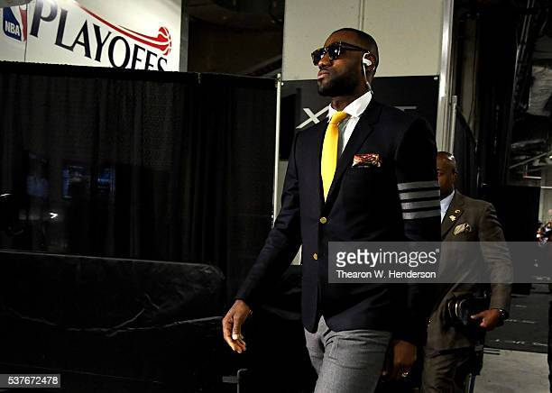 LeBron James of the Cleveland Cavaliers arrives before Game 1 of the 2016 NBA Finals against the Golden State Warriors at ORACLE Arena on June 2 2016...