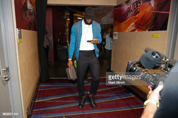 LeBron James of the Cleveland Cavaliers arrives before Game Four of the 2018 NBA Finals against the Golden State Warriors on June 8 2018 at Quicken...
