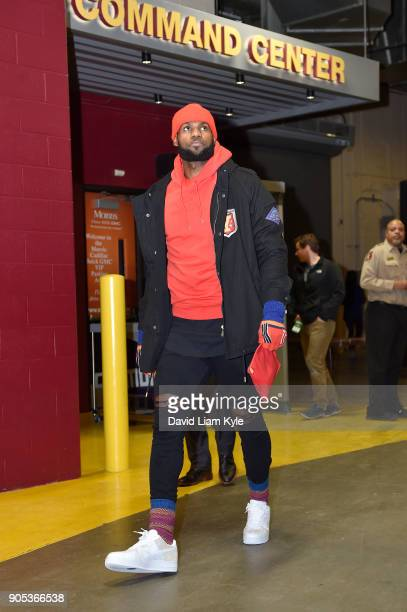 LeBron James of the Cleveland Cavaliers arrives before the game against the Golden State Warriors on January 15 2018 at Quicken Loans Arena in...