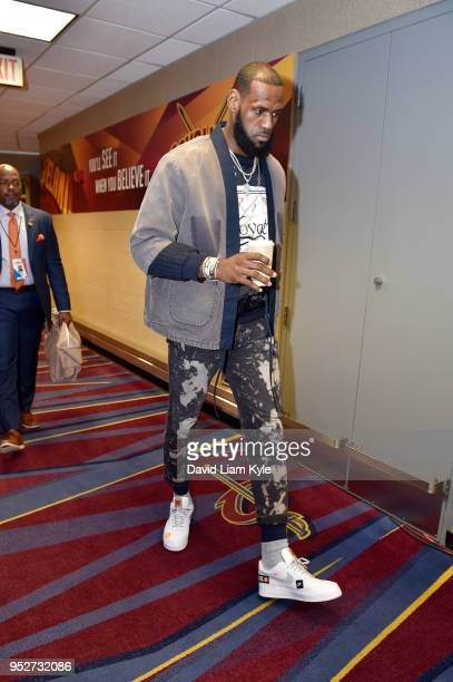 LeBron James of the Cleveland Cavaliers arrives before the game against the Indiana Pacers in Game Seven of Round One of the 2018 NBA Playoffs on...