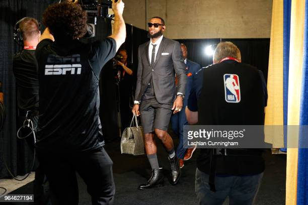 LeBron James of the Cleveland Cavaliers arrives for Game 1 of the 2018 NBA Finals at ORACLE Arena on May 31 2018 in Oakland California NOTE TO USER...