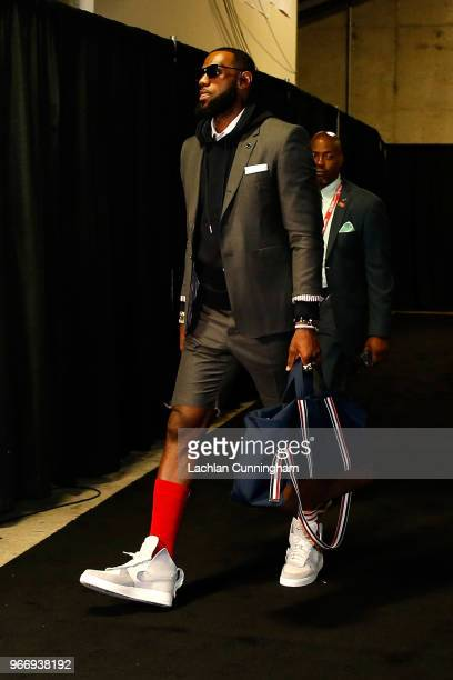LeBron James of the Cleveland Cavaliers arrives for Game 2 of the 2018 NBA Finals against the Golden State Warriors at ORACLE Arena on June 3 2018 in...