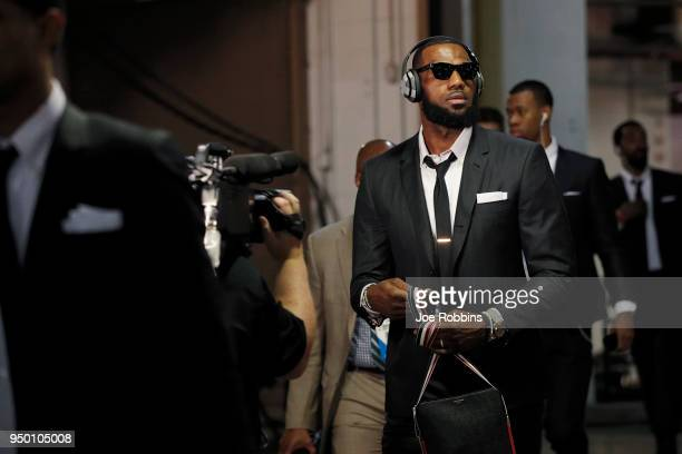 LeBron James of the Cleveland Cavaliers arrives for game four of the NBA Playoffs against the Indiana Pacers at Bankers Life Fieldhouse on April 22...