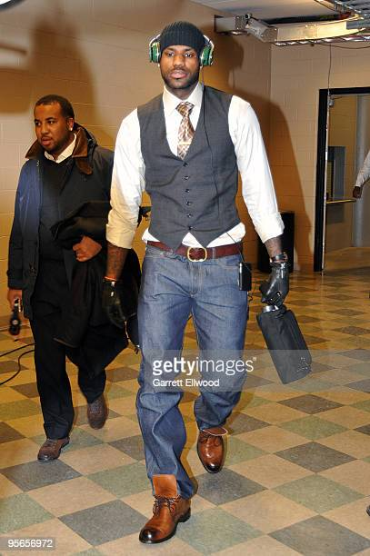 LeBron James of the Cleveland Cavaliers arrives for the game against the Denver Nuggets on January 8 2010 at the Pepsi Center in Denver Colorado NOTE...