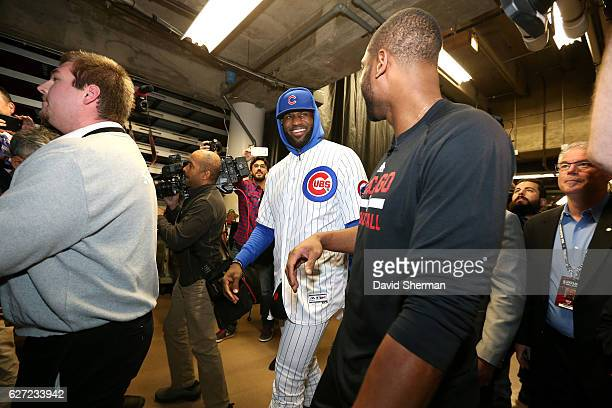 0bbb5e56d LeBron James of the Cleveland Cavaliers arrives to the arena wearning a Chicago  Cubs uniform and