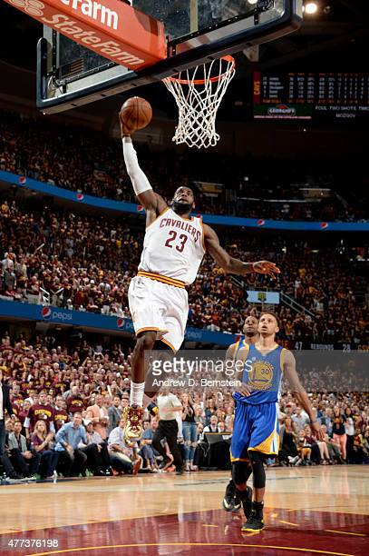 LeBron James of the Cleveland Cavaliers attempts a dunk during Game Six of the 2015 NBA Finals at The Quicken Loans Arena on June 16 2015 in...