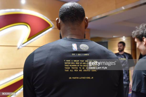 LeBron James of the Cleveland Cavaliers before the game against the Golden State Warriors on January 15 2018 at Quicken Loans Arena in Cleveland Ohio...