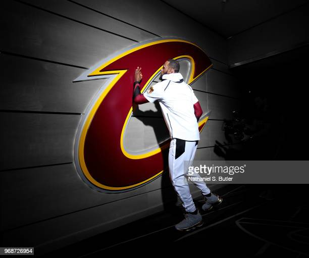 LeBron James of the Cleveland Cavaliers before the game against the Golden State Warriors in Game Three of the 2018 NBA Finals on June 6 2018 at...
